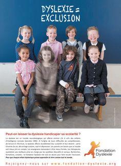 """Annonce Ecoliers de la campagne """"Dyslexie = Exclusion"""" de la Fondation Dyslexie Trouble, Movies, Movie Posters, Adhd, Awareness Campaign, Dyslexia, Self Esteem, Learning, Reading"""