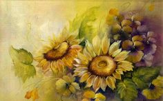 Sunflowers and violet