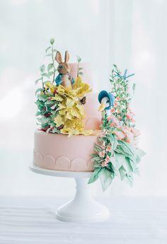 Beatrix Potter themed cake from a Beatrix Potter's Peter Rabbit Inspired Birthday Party on Kara's Paty Ideas | KarasPartyIdeas.com (33)