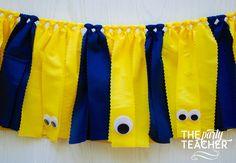 Minion Fabric Tie Garland - Minion Garland - Minion Bunting - Minion Banner - Minions Party - Despicable Me Party