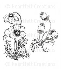 Heartfelt Creations Blazing Poppy Stems Cling Stamp Set