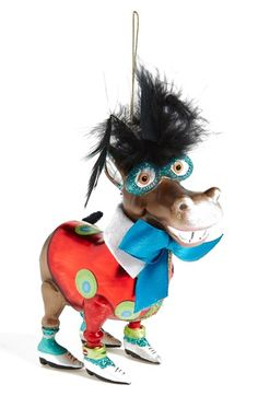 JIM MARVIN Donkey with Festive Shirt Glass Ornament available at #Nordstrom