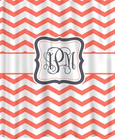 Personalized Shower Curtain - Coral & White Chevron -Any Color  Accent - Shown Grey and Navy. $78.00, via Etsy. Black and Pink for Mae?