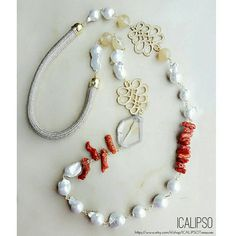 Pearl necklace statement necklace beaded necklace beach