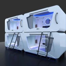 A possible layout with four horizontal capsule bed Military Bedroom, Sleeping Pods, Capsule Hotel, Futuristic Interior, Micro House, Dome House, Gamer Room, Futuristic Technology, Kids House