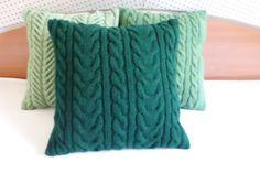 Cable verde oscuro punto de colchón almohada almohada