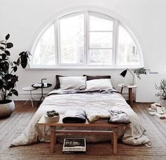arch windows in simple bedroom, neutrals, minimalist, contemporary, decor, home, apartment, interiors