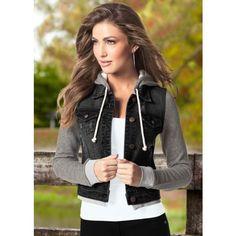 Venus Sweatshirt Denim Jacket ($49) ❤ liked on Polyvore featuring outerwear, jackets, denim jacket, jean jacket, drawstring jacket and drawstring denim jacket