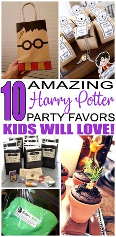 Birthday Party Favors! Harry Potter party favors for a kids bday. The best Harry Potter favor ideas all children will love. Fun & easy ideas for a boy or girl party! Goodie bags, candy, gumballs, & more great take home favors for your guests.