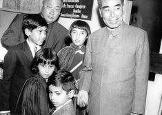 Marshal Chen Yi and Chou en Lai babysitting. Seen here with Benazir, Murtaza, Sanam and Shahnawaz Bhutto