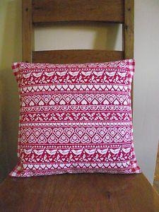 Handmade Cushion Cover in Emma Bridgewater Christmas 'Joy' fabric and Laura Ashley red gingham