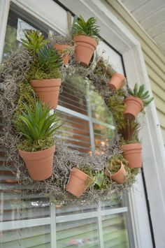 faux succulent wreath, crafts, how to, succulents, wreaths Succulent Wreath, Succulent Terrarium, Succulent Containers, Container Flowers, Faux Succulents, Succulents Garden, Garden Yard Ideas, Garden Projects, Door Wreaths