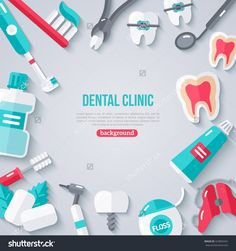 Illustration about Dentistry Banner With Flat Icons. Dentist Tools and Equipment. Illustration of chrome, brush, crown - 71824979