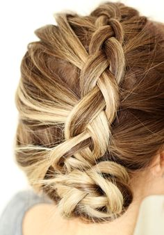 Inside braid.  Start from top of head and bringing a piece of hair each side into the middle until you finish all the hair.