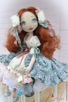 Купить Любаша, маленькая садовница. - кукла, кукла ручной работы, кукла интерьерная, кукла текстильная