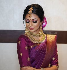 Violet Blossom 🌸 the radiant South Indian Bride ❇️ Photography Muah Bridal Sarees South Indian, Indian Bridal Photos, Bridal Silk Saree, Indian Bridal Outfits, Indian Bridal Fashion, Saree Wedding, Bengali Wedding, Tamil Wedding, Wedding Poses