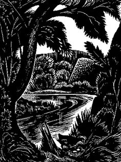 John Buckland Wright (1897-1954) Christmas card with signed John Buckland Wright wood engraving. 73 X 55 mm.
