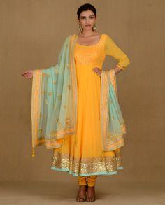 Sun Yellow Anarkali Suit with Sequins - Madsam Tinzin -