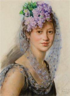 Portrait of Berthe Popoff in a floral fascinator - Zinaida Serebriakova 1941