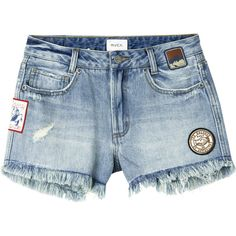 RVCA Women's Highly Vibed Patch Denim Shorts ($59) ❤ liked on Polyvore featuring shorts, indigo mid used, denim jean shorts, high rise shorts, cut off jean shorts, high-waisted shorts and high-waisted cut-off shorts