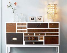.:* L - The coolest dresser ever-- love how none of the drawers match (also How To:  Organize A Dresser)
