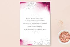 """Watercolor Dots"" - Bohemian Wedding Invitations in Agate by Maria Hilas Louie."