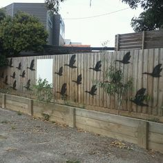 stencil spray painted geese on garden wall