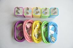 5x USB Data Sync Cable+Colorful Wall Home Charger  for iPhone 3G 4 4S iPod Touch