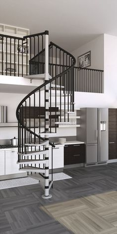 Excellent Picture Of Home Interior Decoration Using Various Indoor Spiral Staircase: Divine Picture Of Home Interior Decoration With Black And White Indoor Spiral Staircase Along With Black Metal Staircase Spindles And Black Metal Loft Railing ~ nengy.com Interior Inspiration