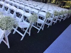 #ceremonyflowers#weddingflowers#aisleflowers#babysbreath#bradfordgreenhouses