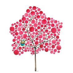 Watercolor Tree Art Owl in Red Maple Print Perfect for Nursery Office... ($16) ❤ liked on Polyvore