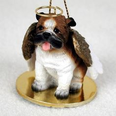 Realistic Hand Painted Bulldog Figurine Adorned as an Angelic Pet Ornament