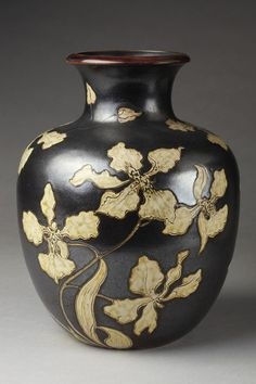 Martin Brothers Pottery - Orchids & Leaves Vase. Incised, Painted & Glazed Stoneware. Southall, Middlesex, England. Circa 1899. 26.4cm x 20.5cm.