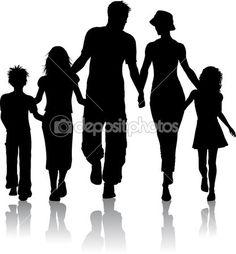 familie silhouet — Stockfoto #5046529