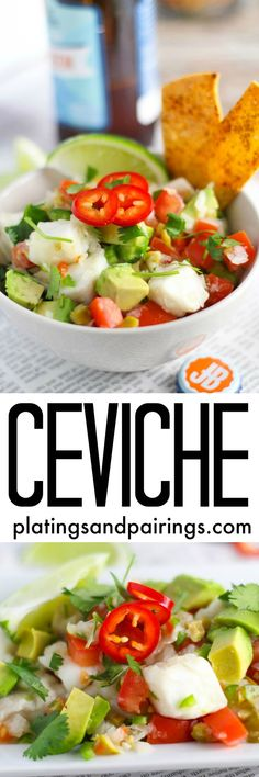Ceviche - Citrus Marinated Seafood Salad platingsandpairings.com