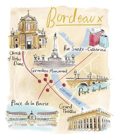 Viking Magazine commissioned Hannah George to illustrate a series of maps for their guide to Dubrovnik and Bordeaux. Ville France, France Map, France Travel, Plan Ville, Visit Bordeaux, Sainte Catherine, Pictorial Maps, Cap Ferret, Beautiful Places To Visit