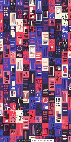 'SigloXX' Seamless Pattern by Russfuss #patterndesign #surfacepattern #fabricdesign #textiledesign #patternprint #geometry #iphonewallpaper #generative #padrões #cadernos #geometria #diseño #retro #midcentury