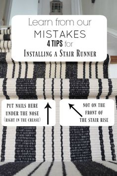 Learn from our Mistakes when installing a Stair Runner - Nesting With Grace runner on stairs bangstyle hair designs fringe bedroom Staircase Runner, Stair Railing, Stair Rug Runner, Staircase Landing, Runner Rugs, Staircase Makeover, Stair Redo, Staircase Remodel, Refinish Staircase