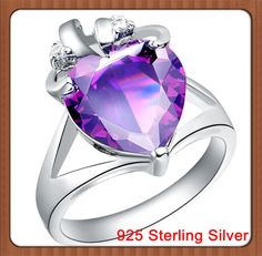 Aliexpress.com : Buy CZ Amethyst Crystal Stones 12*12mm Opal Heart Crown 14*19mm 5.24g 925 Sterling Silver Wedding Engagement Ring for Women from Reliable Amethyst Cubic Zirconia Crystal Silver Ring suppliers on Jewelry Retail Store No Minimum 1 Piece Ok $6.65