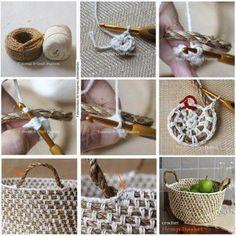 cesta sisal - crochet