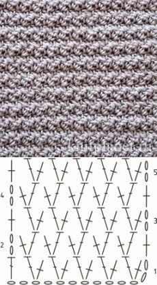 Планета Вязания | Плотный узор крючком № 4. Схема вязания узора.