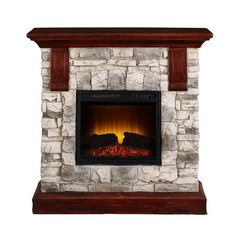 Bold Flame 40 inch Faux Stone Electric Fireplace Heater in Tan/Grey Fireplace Fan, Brick Fireplace Makeover, Stove Fireplace, Fireplace Inserts, Fireplace Ideas, Faux Stone Electric Fireplace, Electric Fireplace Heater, Electric Fireplaces, Faux Brick Wall Panels