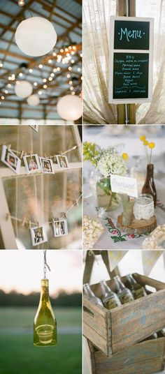 minimal flowers in a jar-queen ann's lace, baby's breath? wildflower-y look, wood stump, lace votive