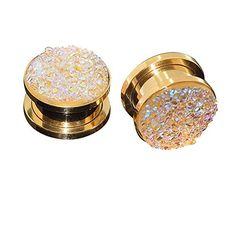 Longbeauty Pair Stainless Steel Sparkling Glitter Flesh Tunnel Ear Expander Screw Plugs Gold Yellow 8MM Longbeauty