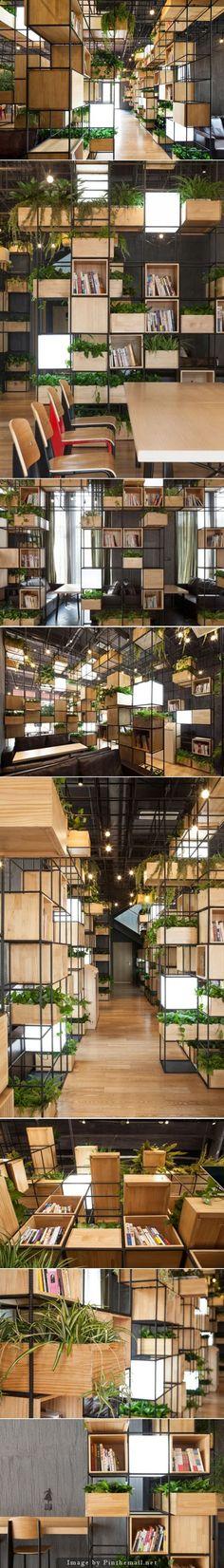 PENDA - Modular shelves & planters - Wooden box shelves and planters and light cubes populate a gridded metal framework: