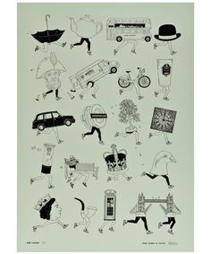 Hand drawn in London, this limited addition unframed wall print features black ink illustrations of iconic British symbols and landmarks with a novelty Olympic twist. Includes illustrations of Big Ben, Tower Bridge, Routemaster bus, London Underground motif, Barclays Boris Bike, teapot and a black umbrella, all with sports themed running legs and in black gloss foil finish.