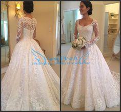 f914933791b 2017 Ivory White Custom Made Long Sleeves Ball Bridal Gown Lace Wedding  Dresses Ivory White