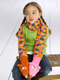Make this cute puppet scarf for your box. It will keep the child warm and is also fun!