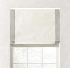 Diedre Decorating Ideas Bordered Cotton Canvas Cordless Roman Shade Saving Energy With Electronics A Blackout Roman Shades, Blackout Panels, Outside Mount Roman Shades, Cordless Roman Shades, Rh Teen, Grey Ribbon, Roller Shades, Wall Organization, Big Girl Rooms