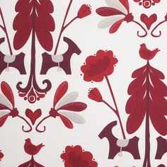 Swedish White/Red Floral Woven Cotton Print Fabric by the Yard   Mood Fabrics